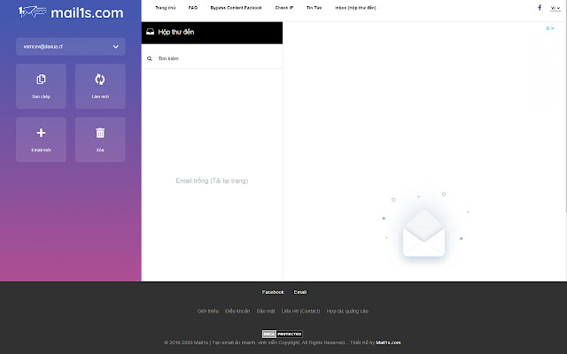 Tạo Email 10p, Email ảo vĩnh viễn - Mail1s