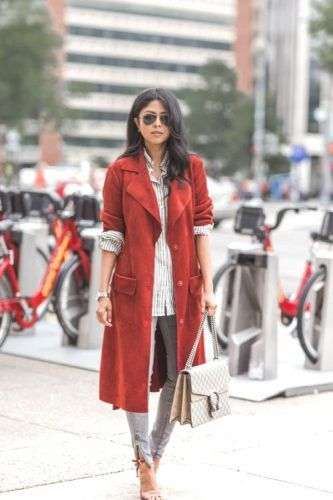 Casual look with rusty red coat, stripe shirt and light blue jeans for Deep Autumn women