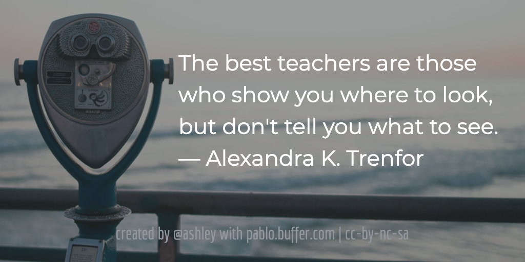 The best teachers are those who show you where to look, but don't tell you what to see.— Alexandra K. Trenfor