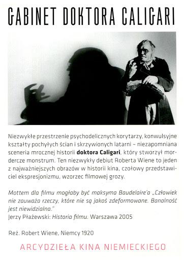 Tył ulotki filmu 'Gabinet Doktora Caligari'
