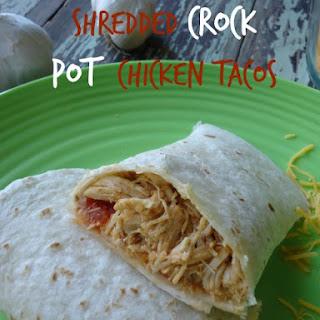 Shredded Crock Pot Chicken Tacos.