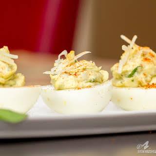 Spinach Artichoke Deviled Eggs.
