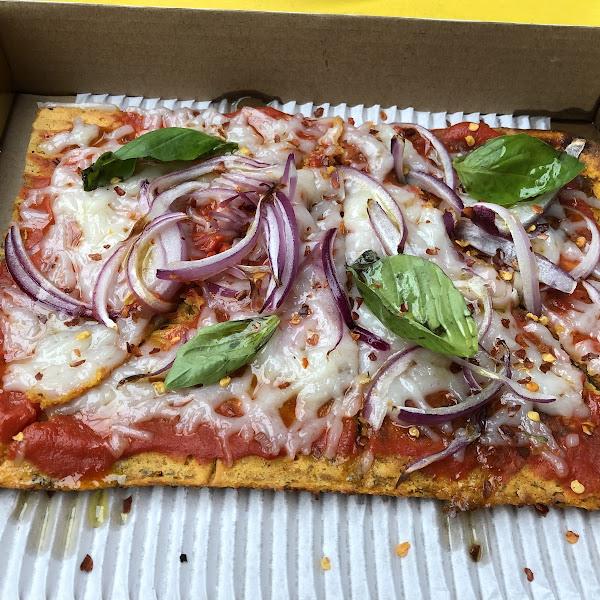 Build Your Own (BYO) pie  Sweet potato crust, spicy marinara, vegan cheese, onions and basil.