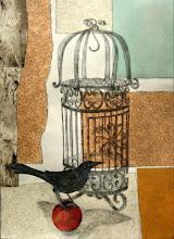 "Photo: Bird on a Ball, 30 x 22"", intaglio, mixed media"