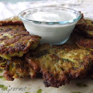 Zucchini Fritter Appetizer with Sour Cream Dip