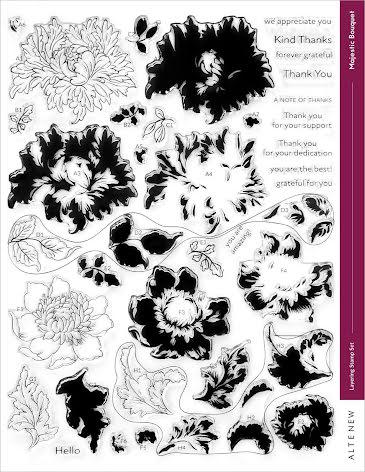 Altenew Clear Stamps 8.5X11 - Majestic Bouquet