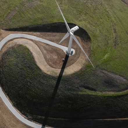 Close-up, aerial view of a wind turbine