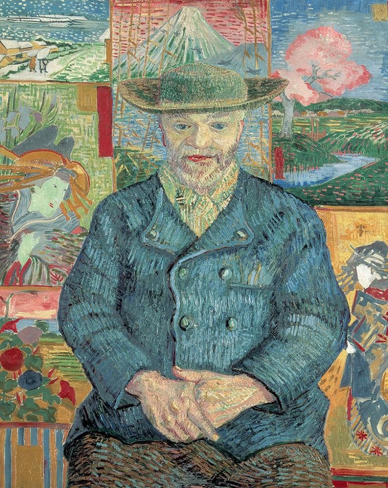 Neste retrato, pode-se ver diversos uikyo-e atrás de Tanguy. Vincent van Gogh, Retrato de Julien Tanguy, 1887, Musée Rodin, Paris.