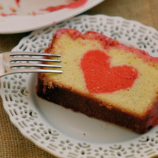 Peek-a-Boo Pound Cake with Raspberry Cream Cheese Frosting