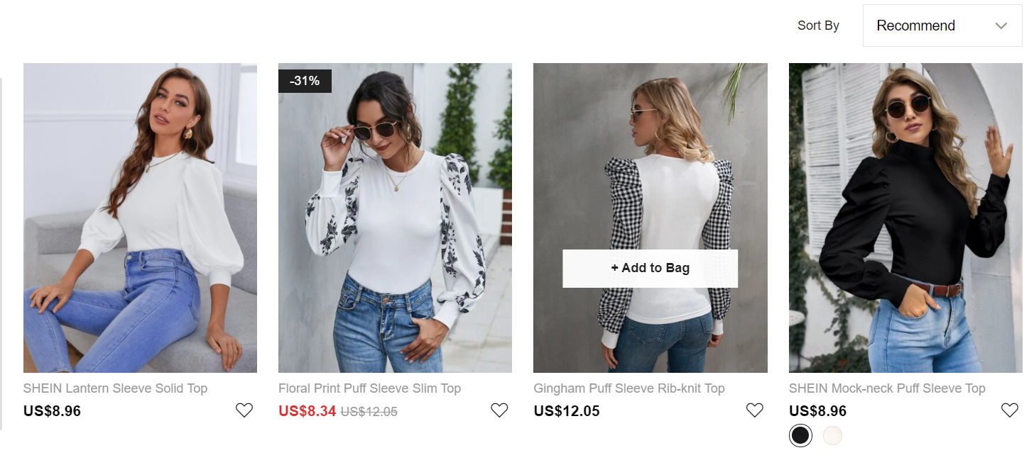 SHEIN category pages