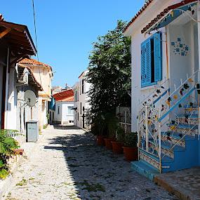 BLUE HOUSE by Nihan Bayındır - City,  Street & Park  Street Scenes ( houses, peaceful, colorful, colors, street, stone, photography,  )