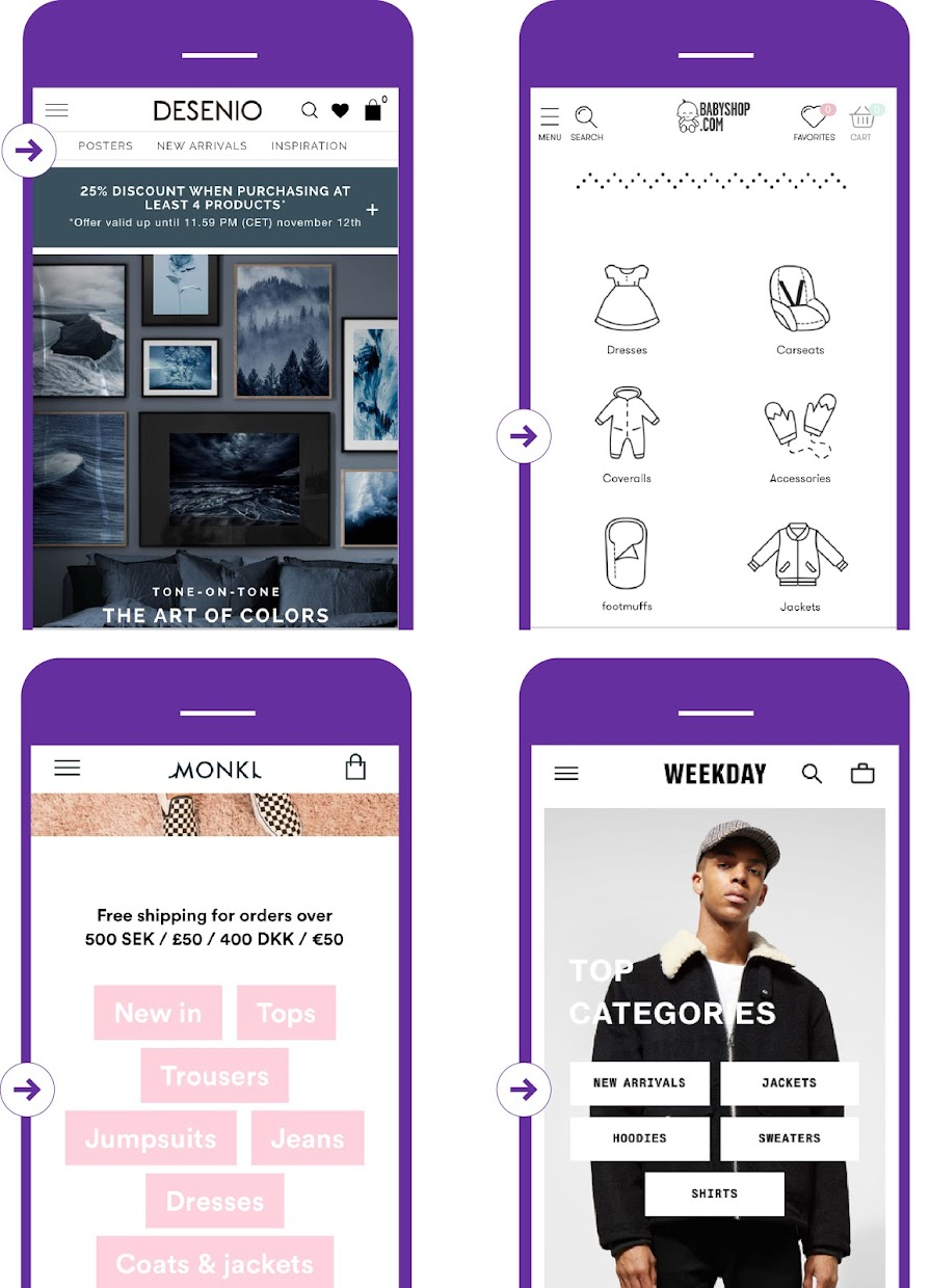 A/B test top categories on homepage