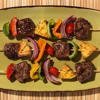 Grilled Steak, Pineapple And Mixed Pepper Kebabs With Veri Veri Teriyaki.