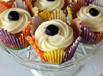 Golden Butter Cupcakes with Blueberry Compote & Mascarpone Icing Recipe