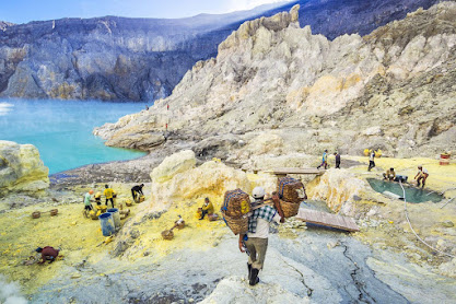 Traditional Sulfur Carrier At Kawah Ijen