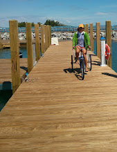Photo: Anne completing a town run via tricycle in Detour, MI