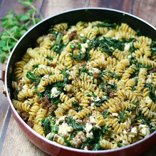Fusilli with Spicy Sausage and Swiss Chard.