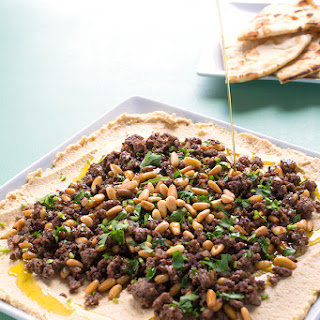 Hummus with Ground Lamb and Toasted Pine Nuts.
