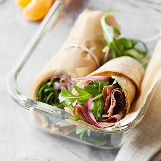 Roast Beef, Arugula, and Pickled Onion Wrap.