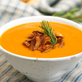 Rosemary-Infused Roasted Winter Vegetable Soup with Crispy Shallot Topping (Gluten Free, Vegan, Paleo)