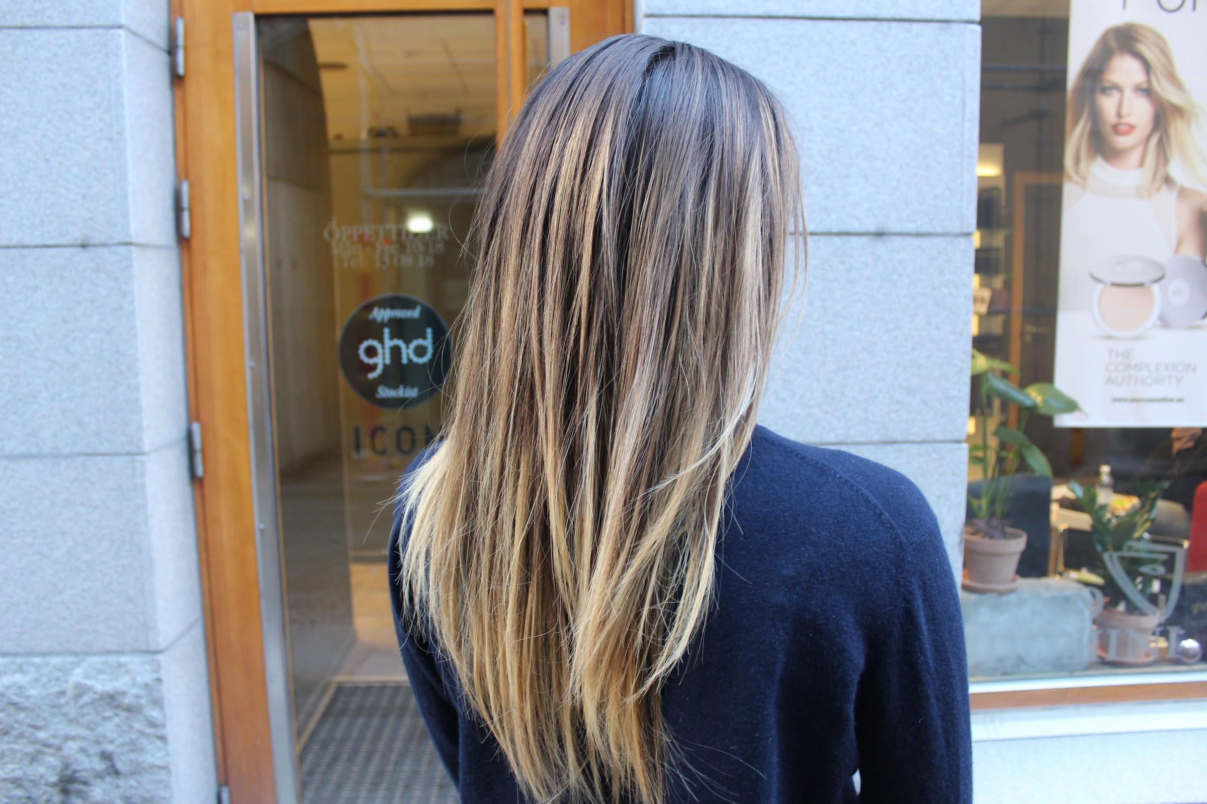 slingor i brunt hår