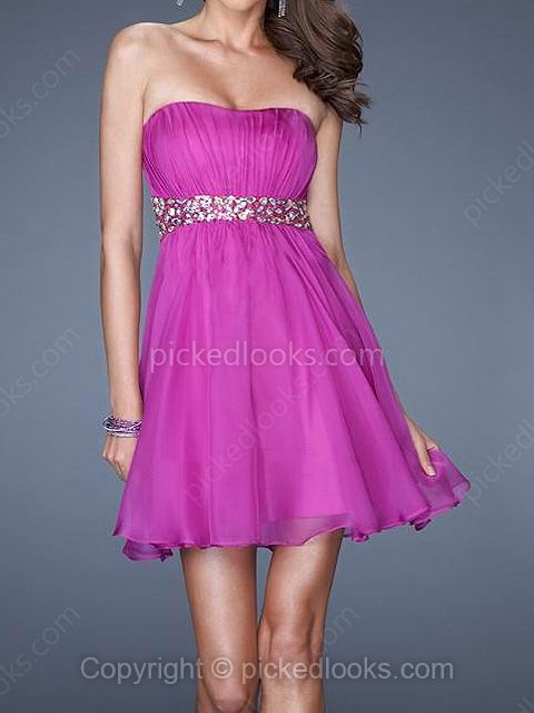 Chiffon Strapless Short/Mini A-line Rhinestone Prom Dresses #PLS02041959