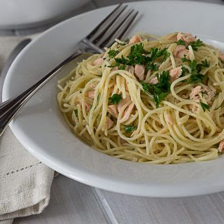 Creamy Salmon and Dill Angel Hair Pasta.