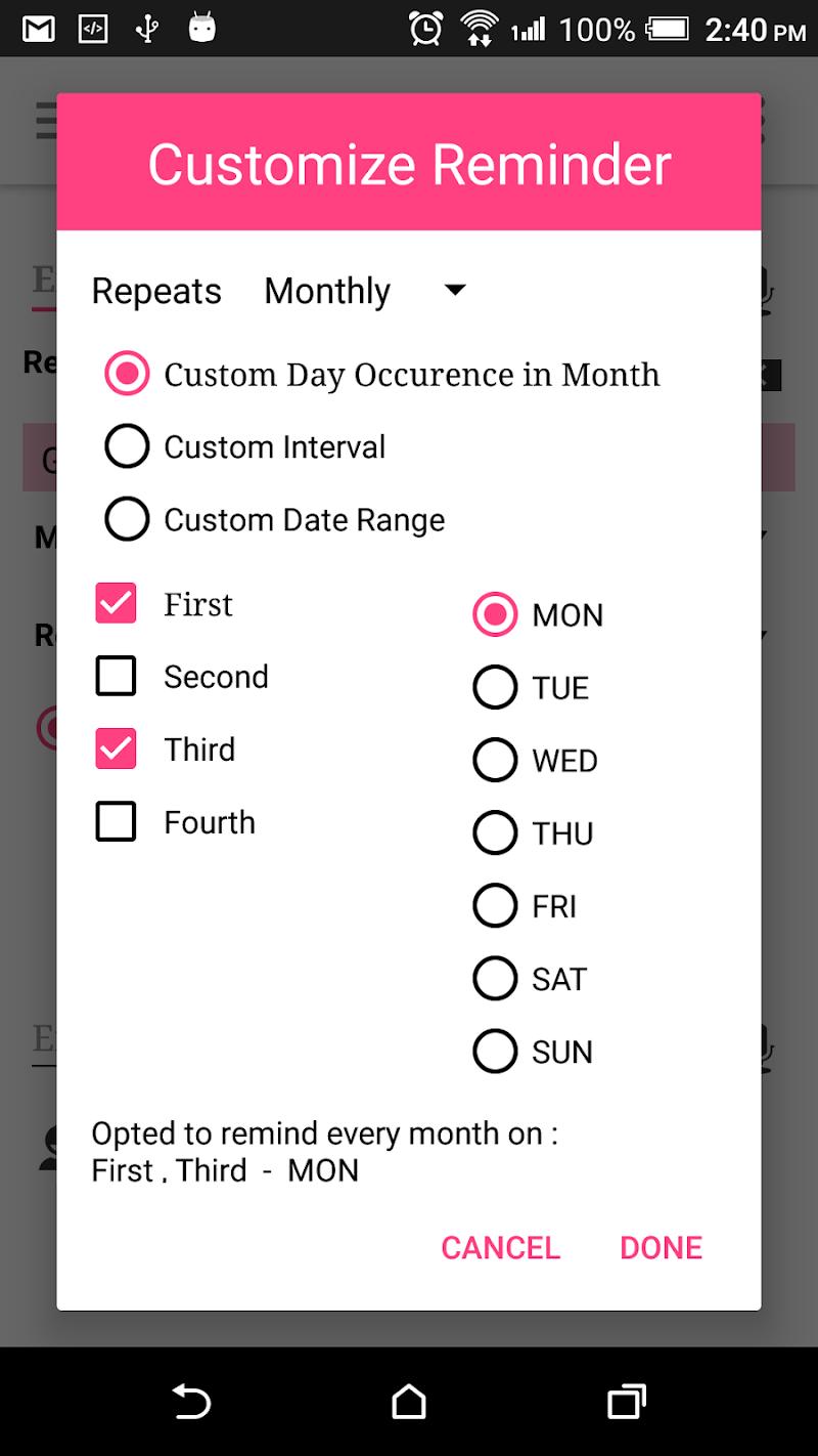 Скриншот Remind Note - reminder, calendar, notes, lists