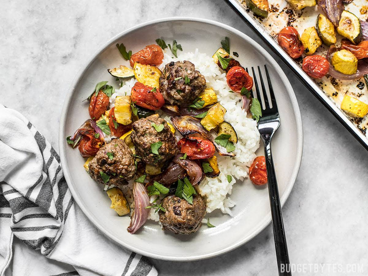 Beef Kofta Meatballs with Roasted Vegetables