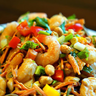 Thai Peanut Shrimp Pasta Salad.