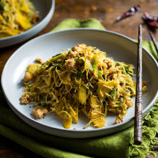 Stir-Fried Rice Noodles With Beets and Beet Greens