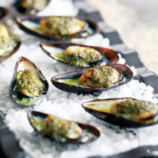 Grilled Mussels with Salsa Verde.