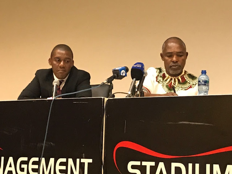 The SA Football Association presidential candidate Chief Mwelo Nonkonyana (R) alongside his campaign manager Sisa Majola (L) at the FNB Stadium to formally launch his bid for the SAFA top job.
