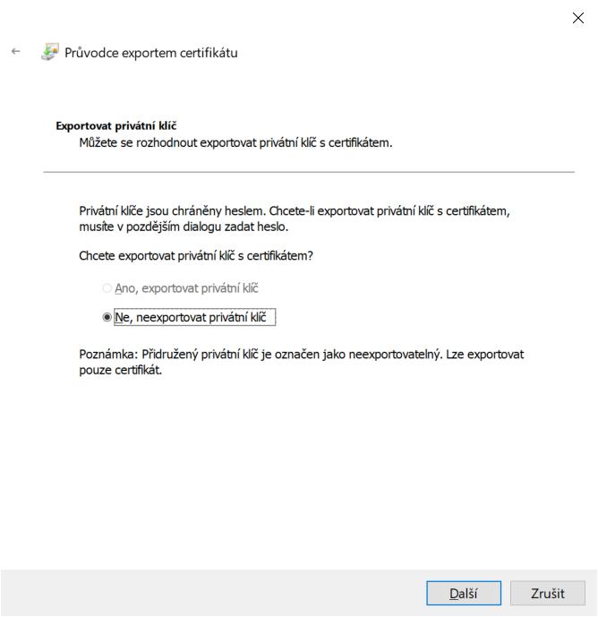 Export certifikátu s privátním klíčem