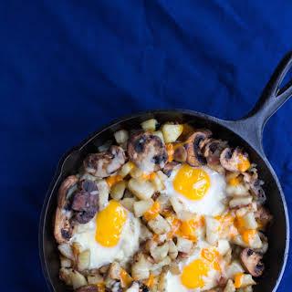 Double Cheese, Bacon, Mushroom, and Egg Hash.