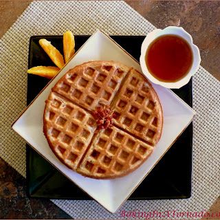 Sweet Potato Waffles with Candied Pecans