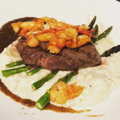 Steak and Lobster with Grits! Amazing and Gluten Free.