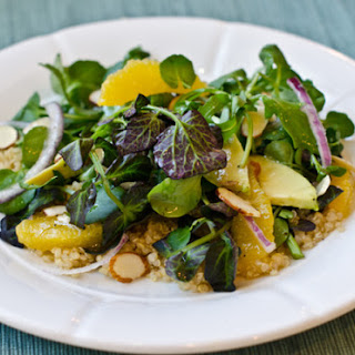 Quinoa Salad with Watercress, Oranges, Avocado, and Almonds, with Citrus Vinaigrette.
