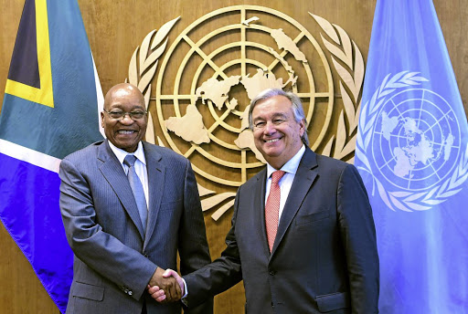 Leader no longer: President Jacob Zuma poses with UN Secretary-General Antonio Guterres, right, on the sidelines of the UN General Assembly in September 2017. Picture: DIRCO/KATHLOLO MAIFADI
