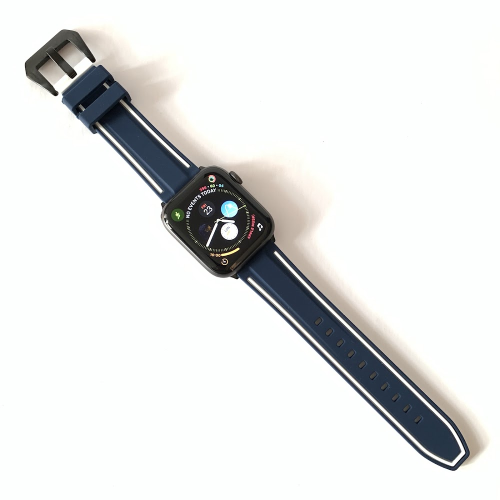 Apple Watch - Navy with White Line Rubber Strap
