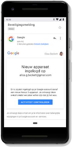Een beveiligingsmelding van Gmail wanneer wordt ingelogd met een nieuw apparaat