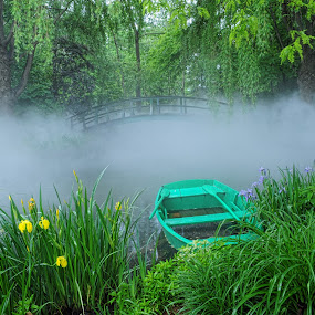 Foggy lake by Andrea Everhard - Landscapes Waterscapes ( fog, lake, landscape, boat )