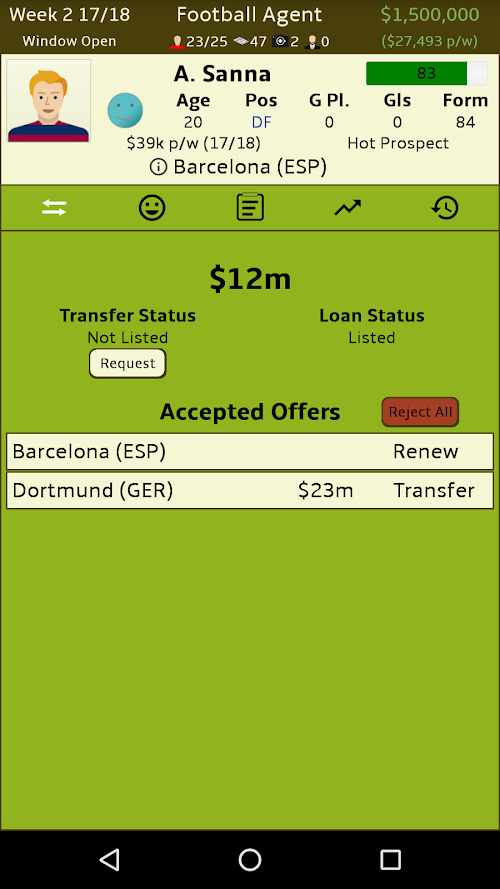 Screenshot 2 Football Agent 1.11 APK MOD