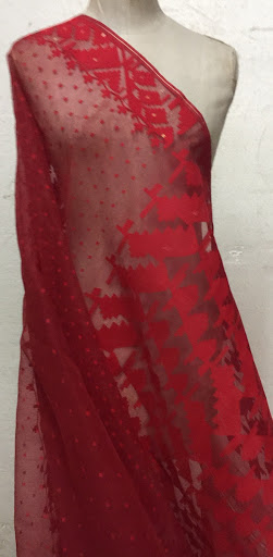 Red sari created by Bibi Russell
