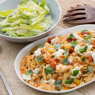 Fresh Fettuccine Pasta with Summer Tomato Sauce & Caesar-Style Salad