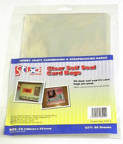 Stix2 Self Seal C5 Card Bags 50/Pkg - Clear