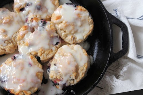 Blueberry Biscuits with Lemon Glaze