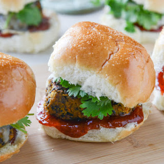 Black Bean Butternut Sliders with Chipotle Ketchup.