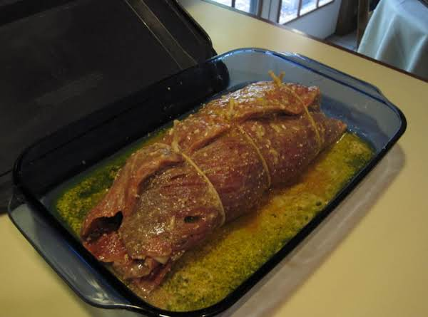 Flank Steak Stuffed With Provolone,spinach And Italian Sausage By Rr
