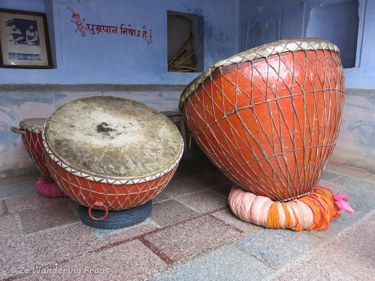 India. Rajasthan Pushkar . Ceremonial Drums in Hindu Temple